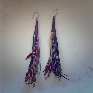 Artist made eclectic boho tribal fringe earrings